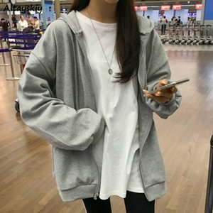 Basic Jackets Women BF Style 2020 Spring Loose Thin Zipper Chic Leisure Femme Coats Minimalist Solid Girls Outerwear New Fashion