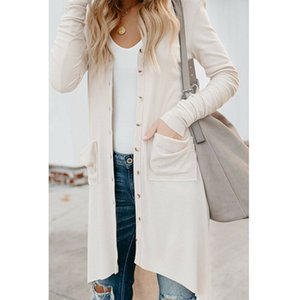 2019 Botão Ladies New Womens Long Sleeve Knit Cardigan Sweater Casual solta Maxi Outwear Jacket Brasão