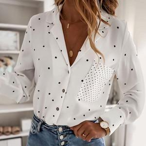 Mode féminine Chemises Imprimer Dot Casual Top Mujer Bouton avec Chemisier poche d'été coréenne Vêtements Femme Chemise Roupas Femininas