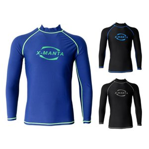 Men's Rash Guard Top Surfing Diving Shirts Sun Protection Long Sleeve Wetsuits Rash Vests Swimming Wetsuit Swimwear