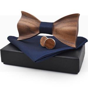 Bolso Praça Bow Tie 3D Madeira Arco de madeira Handmade Tie Handkerchief Abotoaduras Set de Homens com caixa de moda para homens Wedding