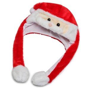 LED Beard Movendo Chapéu do Natal Chapéu de Santa dos desenhos animados Plush Adorável Cap inverno quente Chapéus Cosplay traje engraçado chapéus do partido 15pcs OOA7459