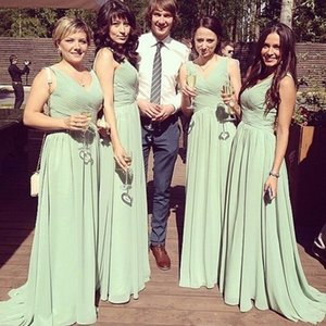 Elegant V-neck Chiffon Long Bridesmaid Wedding Party Dress vestido de festa Custom Made