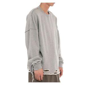 Streetwear Oversize Terry Kazak Kapüşonlular Mens Yıkama Delik Kazak Hoodie Man Katı Renk Yuvarlak Yaka Giyim Ripped