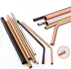 215 milímetros à prova de riscos Palhinha 5 cores Anti-Riscos de aço inoxidável palha reutilizável palha partido Home Bar Acessórios Barware