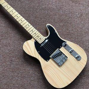 مخصص قياسي جديد، TELE الكتريك جيتار، القيقب لون الخشب الطبيعي الأصابع gitaar، الصورة الحقيقية