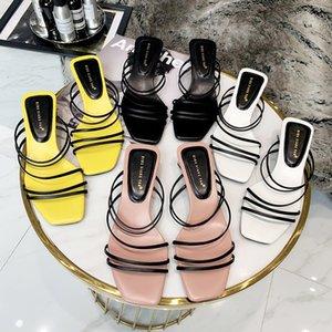 Mini2019 Sapatos Quadrados Verão Toe Joker Fasciola Grosseiro Com Sandálias