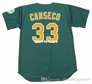 Ucuz Özel JOSE CANSECO Oakland Dikişli 1997 Majestic Vintage Alternatif Beyzbol Forması Retro Erkek Formalar Koşu