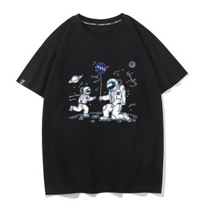2020 NASA balloon new ins tide brand clothes loose men and women short sleeves drop shoulder cotton T-shirt net red