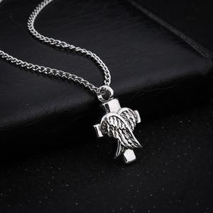 Winkelflügel Kreuz Feuerbestattung Schmuck Silber Feuerbestattung Urne Halskette Anhänger Memorial Andenken Halskette Medaillon Schmuck