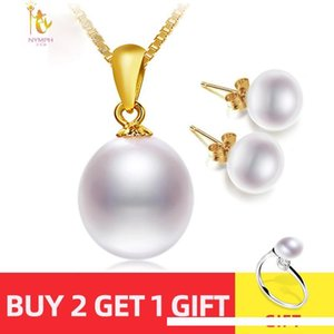 NYMPH 18K Yellow Gold Necklace Pendant Natural Freshwater White 10-11mm Drop Pearl Wedding Party Gift Girl Women [T251] SH190930
