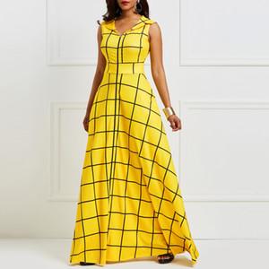Kinikiss 2019 vestido de verão sem mangas xadrez feminino cetim amarelo partido dress elegante saco freio revers azul dress longo