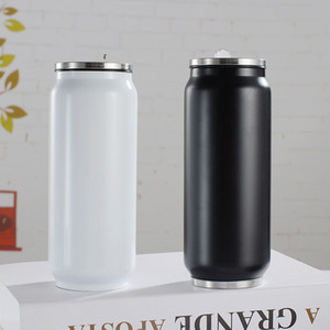 Aço inoxidável 500 ml Cola pode vácuo Caneca Duplo Jar Duplas Água Copa Coca-Cola com tampa com palha