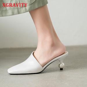 XGravity 2020 nuevos atractivos de la Plaza de Mulas elegante del dedo del pie vestido de zapatillas de moda perla extraño Heel bola de Mujeres sandalias de la señora zapatos B124