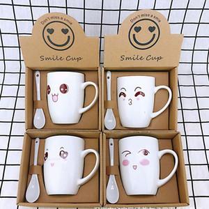 Desenhos animados Cup canecas de cerâmica com colher criativa copo de café 350ml Início Bebida Essencial Afternoon Tea Cup Copos Para Presente