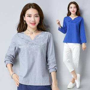2019 lin chinois coton vent national à manches longues chemise femmes costume Tang dessus de la broderie traditionnelle chinoise chemisier femme