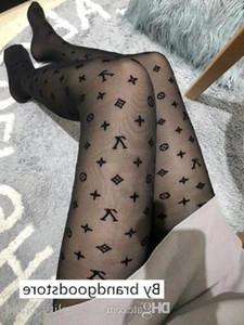 Vv ** 2018 Brief Logo Frauen Strumpfhosen Schwarze Strumpfhosen dünne Jacquard Body Silk Stockings weiblichen Sommer Sexy Leggings Damen Spitze Socken