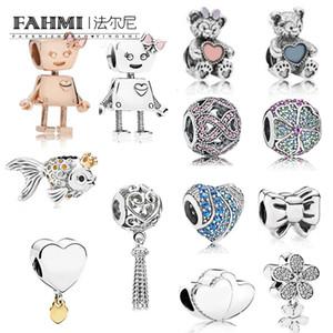 FAHMI 100% 925 Sterling Silver Charm BELLA BOT Fiocco deslumbramiento Daisy ENCHANTED corazón que cuelga Glorioso Blooms BELLA BOT HANGING FLOTANTE