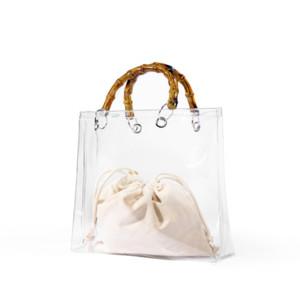 Summer Fashion trasparente di bambù maniglia superiore Borsa Chiaro borsa delle donne della borsa e della spiaggia della signora Pvc Jelly Hand Bag