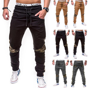 Waist Lace Up Slim Fit Pencil Pants Male Designer Clothing Mens Camouflage Stitching Pants Casual Mid