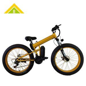 26-İnç Dağı Kar Bisikleti Elektrikli Lityum Batarya Katlanabilir Alüminyum Alaşım Fat Tire Sürüş Geniş Lastik Booster Çık Araba