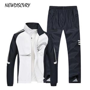 NEWDISCVRY Two Piece Anzug Männer Jacket + Pant Herren Sweatsuit Set 2018 Autumn Sport Herren Sweatshirt Anzug Männlich Kleidung