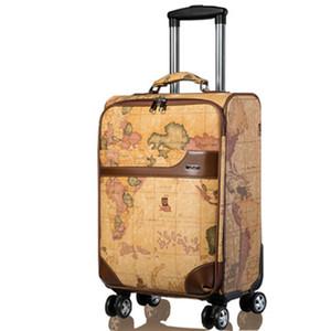 Mapa LeTrend retro Spinner equipaje del balanceo de las mujeres de los hombres de la carretilla contraseña Maleta Ruedas de 20 pulgadas PU bolsa de viaje de la cabina del tronco