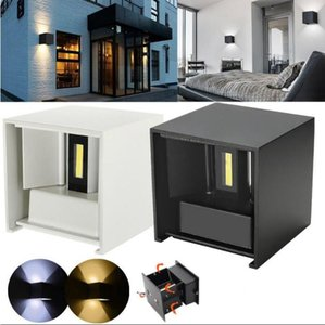 8W 12W Dimmable COB Modern Brief Cube Lámpara de pared LED montada en superficie ajustable Lámpara de pared impermeable al aire libre Lámpara de pared para jardín