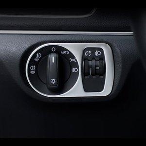 Style de voiture tableau de bord lampe de la tête commutateur décoration cadre couverture bandes en acier inoxydable pour Audi Q3 2013-2017 accessoires automatiques
