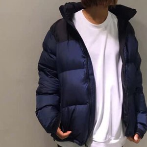 Fashion-THENF Navy Blue Nuptse Down Jackets Winter Windproof Lightweight Outerwear Simplicity Couple Trend Down Hooded Jackets HFHLYRF007