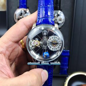 Estática versão EPIC X CHRONO CR7 Astronomical Tourbillon Skeleton Aventurine Dial Swiss Quartz Mens Watch prateado Caixa azul Strap Relógios