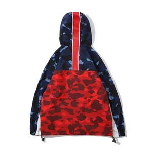 2019 männer Blau Rot Camo Splice Polyester Hoodies Windjacke Liebhaber Mode Strickjacke Freizeit Mantel Beliebte Marke Revers Dünne Jacken
