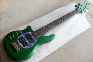 6 strings Left-handed Green Body Active Circuit Electric Bass Guitar with Chrome hardware,HH pickups,Rosewood fingerboard,offer customize