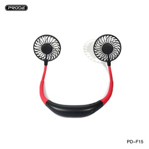 Proda cou Hanging LED casque design USB Portable bureau personnel Fan Cooler Fan Wearable forte Airflow 2 Wind Head Fan