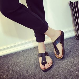 Size 35-44 Solid women's clogs with buckle men's clog soft wood heel shoes couple slippers colourful flip flops z150