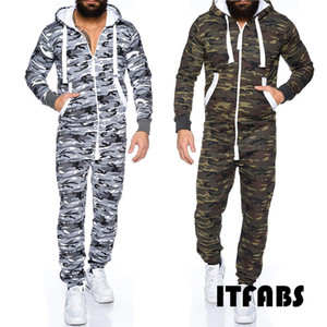 Men Running Sport Clothes Long Sleeve Camouflage Coverall One Piece Jumpsuits Pants Trouser Romper M-XXXL