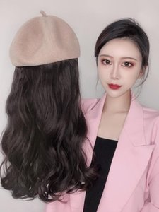wig hair hat cap holder hair Hat connection wig women Long curly with
