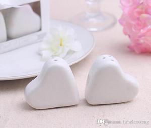 Heißer Verkauf weiße Keramik Heart-shaped Salz- und Pfefferstreuer Glas Menage Geschenkverpackung Minihochzeitsgeschenke