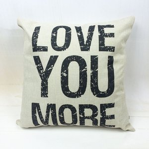 LOVE YOU MORE Cotton and hemp pillow letter head cushion can be removed wash pillowcase wholesale DHL FREE
