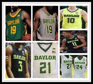 2021 bon marché Baylor Bears College 11 Mark Vital 12 Jared Butler 25 Tristan Clark 10 Makai Mason 4 Mario Kegler NCAA Jerseys Basketball Custom