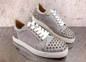 New Brand Sliver Glitter Leather Sneaker Shoes Low Top Red Bottom Casual Walking Red Bottom Mens Womens Trainers Cheap Outdoor Skateboard