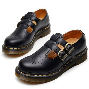 mary jane de cuero de vaca mujeres de los zapatos mary jane calzados únicos zapatos de hebilla de cobre doble muscular pisos mujer correa de vaca zym1
