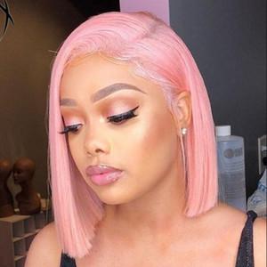 Línea de cabello natural Rosa Corto Bob Pelucas Sin cola Recta Sintética Cordón Frente Peluca Fibra resistente al calor 150% Densidad Cosplay Pelucas para mujeres