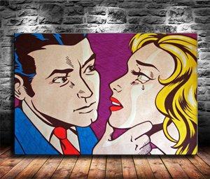 Roy Lichtenstein Pop Art Girl -1, Impression toile HD Nouvelle Maison Décoration Art Peinture / (Unframed / encadré)