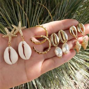 4 paires / lot Mode Coquillage Naturel Perle Boucle D'oreille Pendantes Femmes Fille Boho Plage D'été Shell Conch Starfish Boucles D'oreilles T189