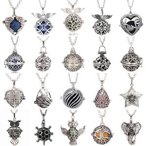 41 Arten Lava Rock Aroma Ätherisches Öl Diffusor Halskette Großhandel Schmuck Hohl Offen Medaillon Anhänger Halskette Mit 70 cm Kette