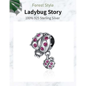WOSTU Ladybug Bee Butterfly Charms Real 925 Sterling Silver Zircon Insect Beads Pendant Fit Orginal Bracelet Necklace Jewelry