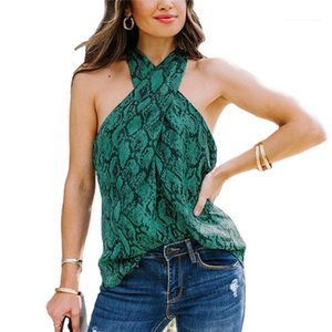 Womens Sexy Chest Wrap Sleeveless Outdoor Camis Tops For Women Summer Serpentine Pattern Fashion Sexy Tees Spaghetti Strap Tanks