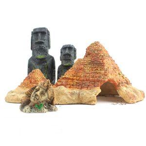 Аквариум Украшения Остров Пасхи Голова Статуя Египетский Фараон Пирамида Пустыня Тема Орнамент