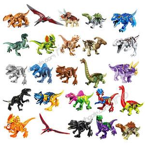 Dinosaurio serie bloques de construcción Niños Puzzle Juguetes Asamblea ladrillos del bloque de dinosaurio de embalaje de partículas pequeñas edificio de varios estilos del bolso de OPP